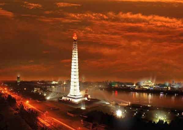 Juche Tower  north korea tourism guided tour beautiful places to visit inside pyongyang vdiscovery arvinovoyage